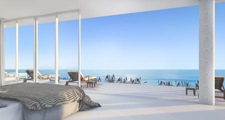 3D-rendering luxe villa-slaapkamer in de buurt van het strand met mooie scène van het raam