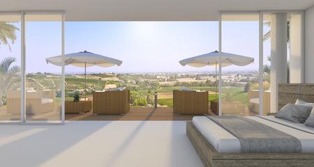 3 d レンダリング素晴らしい寝室のすてきなベッドと夏の緑の丘の近くの屋外のアームチェア 写真素材 - 66488253