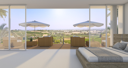 3d rendering wonderful bedroom with nice bed and outdoor armchair near green hill in summer 스톡 콘텐츠