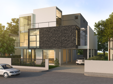 brick house: 3d rendering beautiful modern design black brick house near park and nature