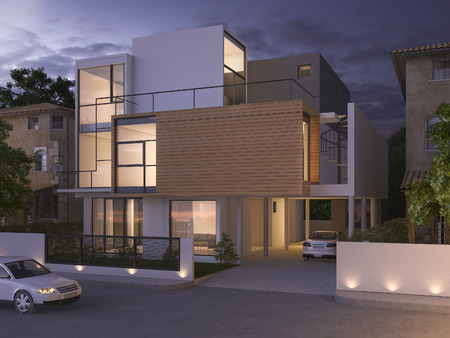 brick house: 3d rendering beautiful modern design black brick house near park and nature at night