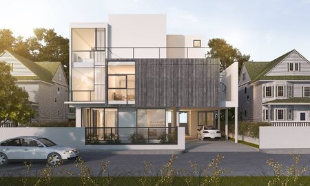 3d rendering beautiful modern house in village near park in summer 版權商用圖片 - 66488249