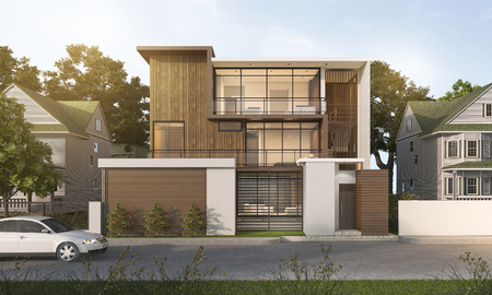 3d rendering nice modern style wood house in beautiful village 스톡 콘텐츠