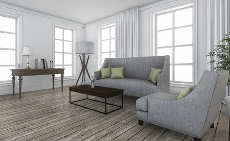 comtemporary: 3d rendering nice loft furniture in comtemporary living room