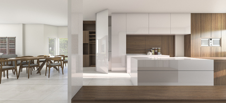 cabinets: 3d rendering nice kitchen and dining room in warm atmosphere
