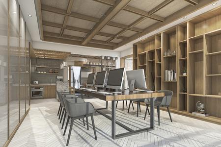 素敵なテクスチャと 3 d レンダリング中国スタイルの木製オフィス 写真素材 - 69966219