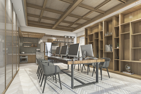 3d rendering wood chinese style office with nice texture