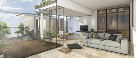 reflect: 3d rendering nice view living room with reflect stone tile Stock Photo