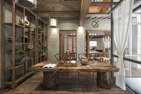 3d rendering nice design chinese working room with decoration Banque d'images