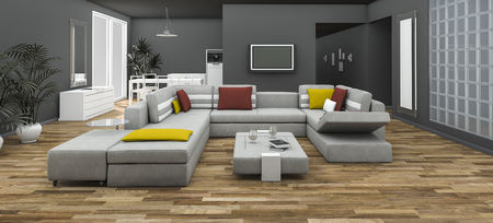 3d Rendering Colorful Sofa Set With Loft Style Room Stock Photo   70335244