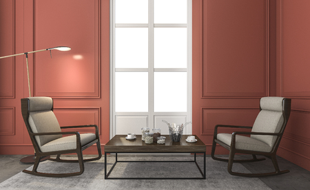 classic living room: 3d rendering great furniture in red classic living room