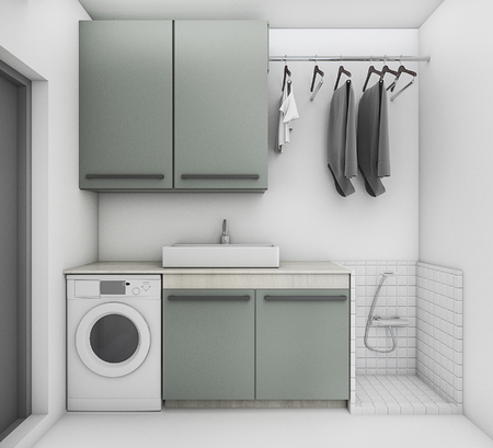 laundry room: 3d rendering beautiful laundry room with clean condition Stock Photo