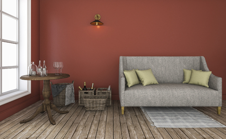 characteristic: 3d rendering red wall living room with good characteristic furniture Stock Photo