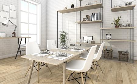3d rendering nice brick dining room with shelf idea 스톡 콘텐츠