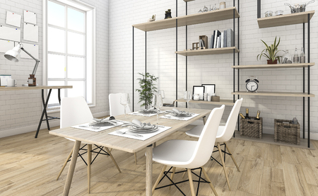 3d rendering nice brick dining room with shelf idea 版權商用圖片 - 69966236