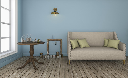 characteristic: 3d rendering blue wall living room with good characteristic furniture Stock Photo