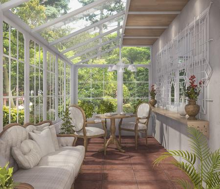 3D-rendering mooie thee kamer met glazen huis ontwerp Stockfoto