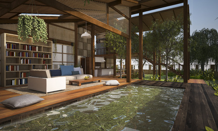 tropical garden: 3D rendering contemporary wood living terrace and lounge with pool for example of good composition of furniture near wood terrace and living room