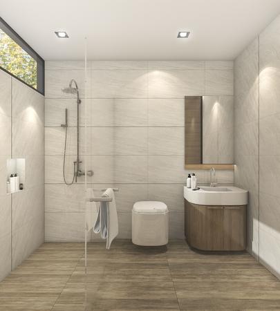 3D-weergave minimalistische warme slaapkamer met goed ontwerp Stockfoto