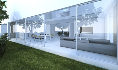 3d rendering outdoor garden near nice modern living room 스톡 콘텐츠