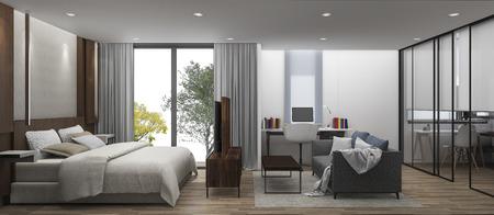 walk in closet: 3D Rendering bedroom with walk in closet