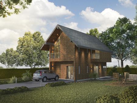 3d rendering beautiful light brick house outdoor