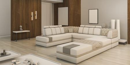 Sala de estar de la textura de madera de la representación 3d con luz caliente y atmósfera agradable Foto de archivo