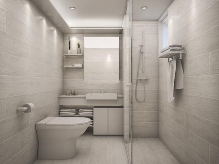 3 D レンダリング白い清潔なバスルーム