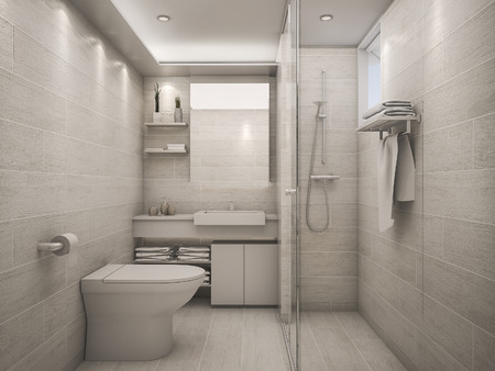 3D Rendering white clean bathroom 스톡 콘텐츠
