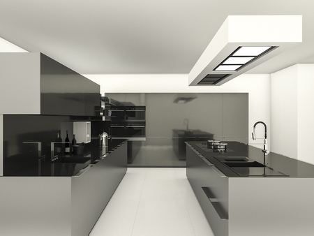 reflect: 3d rendering modern style with reflect material kitchen Stock Photo