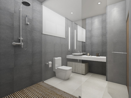 3d rendering modern loft toilet and shower with wood floor 스톡 콘텐츠
