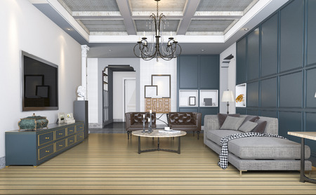 vintage furniture: 3d rendering classic and vintage living room with beautiful furniture