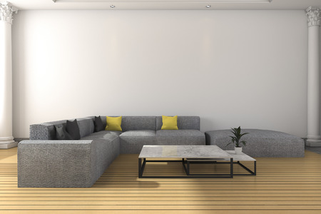 classic living room: 3d rendering long sofa set in white classic living room Stock Photo