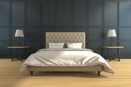 3d rendering classic and vintage green bedroom Imagens - 66488298