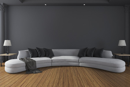 classic living room: 3d rendering long soft sofa in minimal dark room