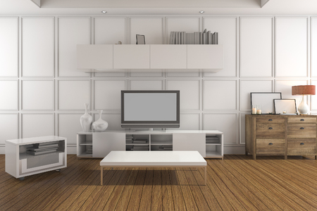 classic living room: 3d rendering white classic living room with tv set