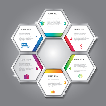vector infographic design in hexagon shape with information Illusztráció