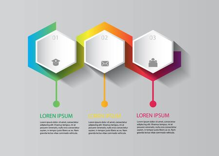 vector infographic design in hexagon shape with colorful design Illusztráció