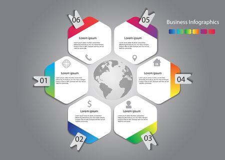 vector infographic design curve hexagon with world vector Illusztráció