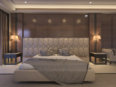 3d rendering classic bedroom with luxury decor and romantic bed