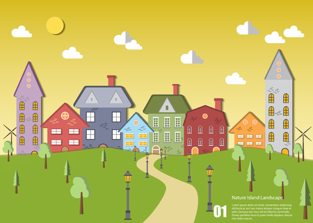 stock vector green sustainable cityscape with tree and hill Vettoriali