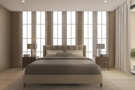 3d rendering luxury bedroom with high beautiful window
