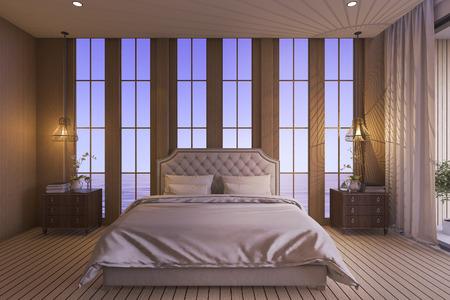 luxury bedroom: 3d rendering luxury bedroom in twilight scene