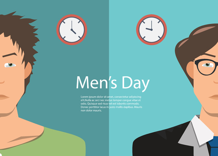 stock vector business man in work time and after work with contrast style