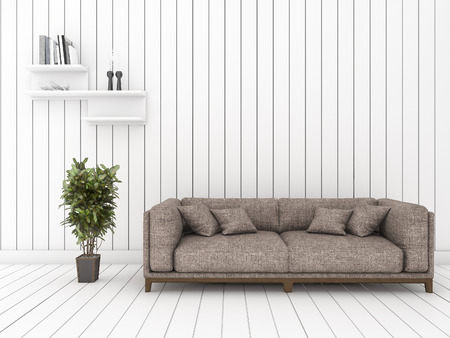 minimal: 3d rendering white wood living room with minimal cool sofa and shelf
