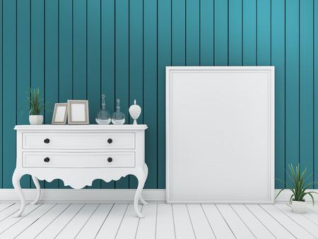 3d que rinde la sala de estar mínima de la pared verde con muebles del vintage y marco Foto de archivo