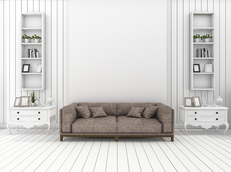 classic living room: 3d rendering white modern wall living room with classic decoration Stock Photo