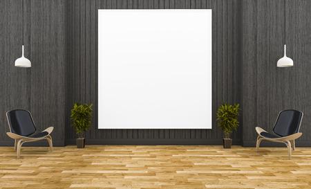 3d Rendering Huge Picture Frame In Dark Wood Room With Minimal