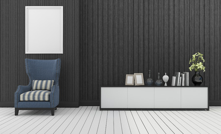 built in: 3d rendering blue classic armchair with built in white shelf