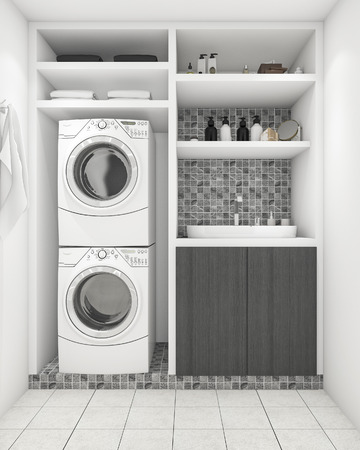 3d rendering beautiful modern white laundry room with decoration 스톡 콘텐츠